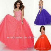Pink Orange et Purple Sweetheart Organza Sweep Train Sequin Lace Up Back Robe Quinceanera Dressing Pageant Sweet 16