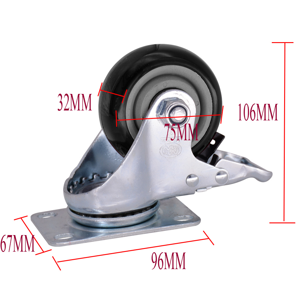 3 Inch Pvc Caster With Brake