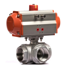 3 Way Thread  L/T Type 304 Stainless Steel Pneumatic Actuator Ball Valve