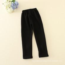 calças meninas preto calças compridas com duas flores brilhantes bordados para meninas para o outono
