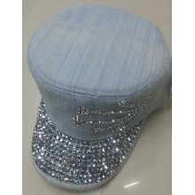 Jeans cotton flat top military cap with rhinestone for men/women