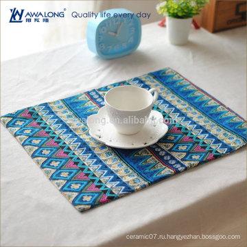 Довольно дизайн красочный стиль национального образца прямоугольный Placemat, высокого качества хлопок и льняные таблицы Мат