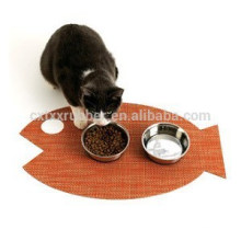 fish shape cat feeding mat, custom shape pad feeding mat