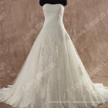 LS0111 Strapless laço para cima esparguete volta rendas vestidos de noiva vestidos verdadeiros vestidos de noiva rendas vestido de noiva modelo novo