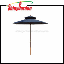 Luxury Double -Roofs 2.4M Outdoor Patio Beech Parasol Single Color 150G Polyester