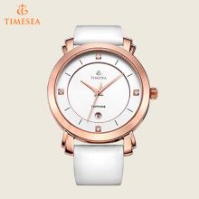 Senhoras relógios de pulso de quartzo com pulseira de couro branco 71168