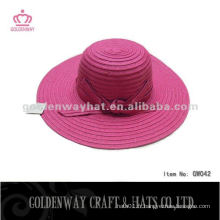 Chapeau en papier pour dame GW042 chapeaux de plage d'été nouveau 2014 avec ruban