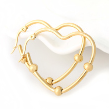 18k gold heart stainless steel hoop earring
