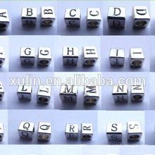 6*6mm charm alloy hole 3.5mm alphabet cube beads