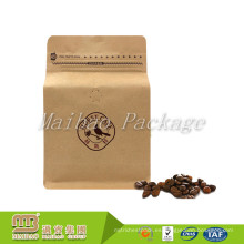 Encargo de impresión flexible Empaquetado Con cierre de cremallera Top / Ziplock Coffee Bean Bloque de embalaje Parte inferior de Kraft Paper Valve Bag
