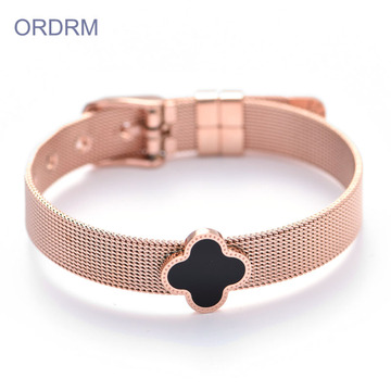 Gelang Tali Mesh Hitam Clover Rose Gold Adjustable