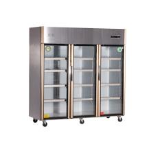 1390L Drei Türen Edelstahl Küche Kühlschrank