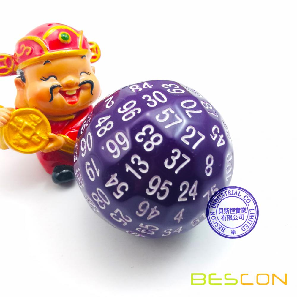 Bescon Polyhedral Dice 100 Sides Dice, D100 mort, 100 Cided Cube, D100 Game Dice, 100-Cided Cube of Purple Color