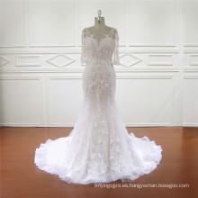 Vestido de novia de sirena con aplicaciones de 3/4 mangas de alta calidad