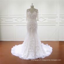 Robe de mariée à manches 3/4 de qualité fine Appliqued Mermaid