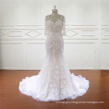 3/4 Sleeve Fine Quality Appliqued Mermaid Bridal Dress