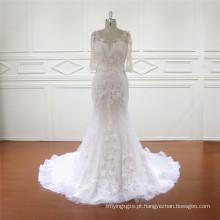3/4 manga qualidade fina appliqued vestido de noiva sereia