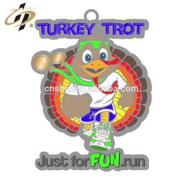 Promotional custom zinc alloy silver Turkey Running finisher medal