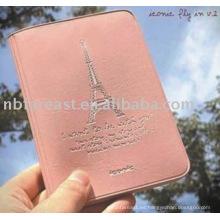 Portador rosado de alta calidad del pasaporte del pu & pvc, caso del pasaporte, bolso del pasaporte