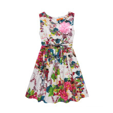 2017 Beautiful Flower Printed Dress Design Girl Fancy Frocks
