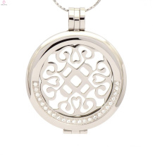Women silver crystal plate locket pendant,stainless steel coin locket with disc