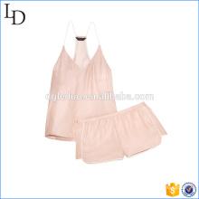 Blush couleur sexy femmes pyjamas vêtements de nuit ensembles de vêtements de nuit satin plaine