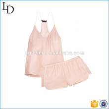 Blush color sexy women pajamas sleepwear plain satin sleepwear sets