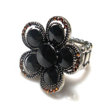 Elastic black and smoke topaz rhinestone inlay Finger Ring metal 5 petals flower shape vintage Stretch ring adjustable size