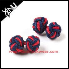 Boutons de manchettes en soie rouge à nœuds croisés