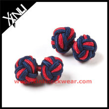 Navy Red Crossed Silk Knot Cufflink in Knot