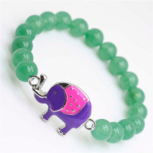 Green Aventurine Gemstone Bracelet with alloy elephant Piece