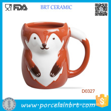 Venta al por mayor Red Fox Shape Ceramic Water Cup