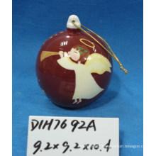 Bauble de anjo cerâmico para decoração de árvore de natal