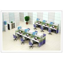 Mueble de pared alta de madera de 2 plazas de trabajo de oficina pequeño cubículo (HF-YZV066)
