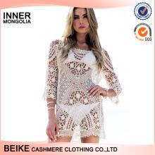 2017 New arrival crochet summer lace cotton beach dress