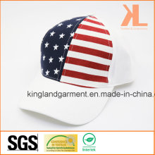 100% Cotton Drill USA American Flag White Baseball Cap