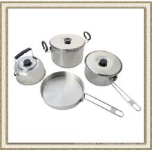 4 PCS en acier inoxydable acier Camping ensemble de casseroles, batterie de cuisine en plein air
