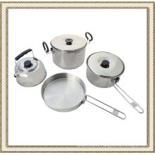 4 PCS Stainless Steel Camping Cookware Set, Outdoor Cookware Set