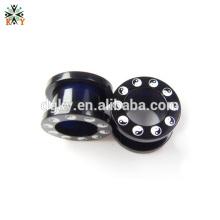 Jauge mâle avec jarretière Piercing noir avec motif Yinyang