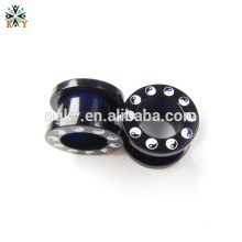 Male ear plug gauge Black plated piercing jewelry with yinyang pattern