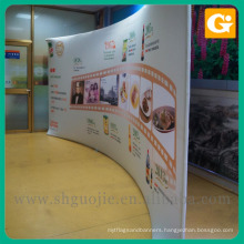 Fabric curved pop up trade show backwall display
