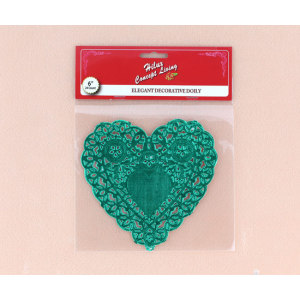 6inch heart shape green foil doily