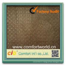 En gros de haute qualité OEM Ningbo fabricant doux Faux cuir tissu pour mur