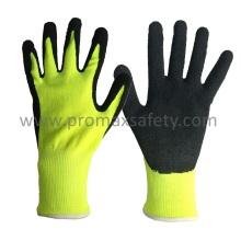 13G Hi-Vis Polyester Shell Schwarz Schaum Latex Coating Handschuhe