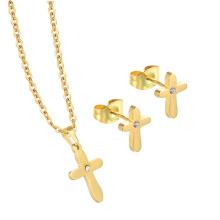 Einzigartige Schmuck hohe Qualität 18 Karat Gold Kreuz Form Kristall Schmuck-Set