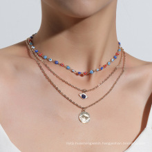 multi-layer charm chain eyes evil necklaces women,gold plated jewelry oem