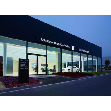 Modern 4s Car Tempered Glass Facade Wall Office Showroom