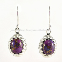 Natural Purple Copper Turquoise Gemstone 925 Sterling Silver Earring