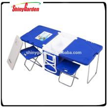 Nuevo refrigerador multifuncional para muebles con mesa y 2 sillas plegable Mesa de picnic para acampar al aire libre