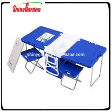 New Multi Function Furniture Rolling Cooler with Table and 2 Chairs Folding Outdoor Camping Picnic Table
